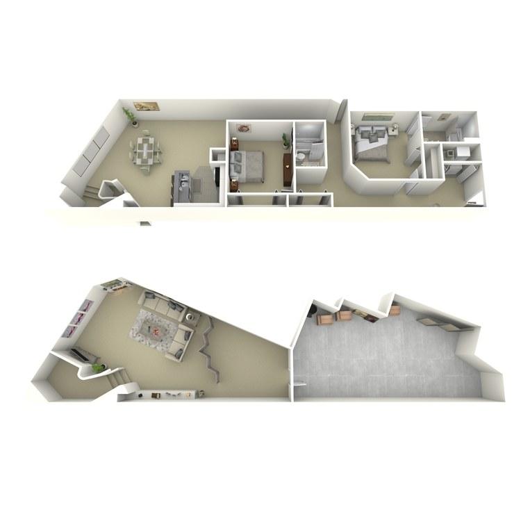 Floor plan image of 2 Bed 2 Bath V