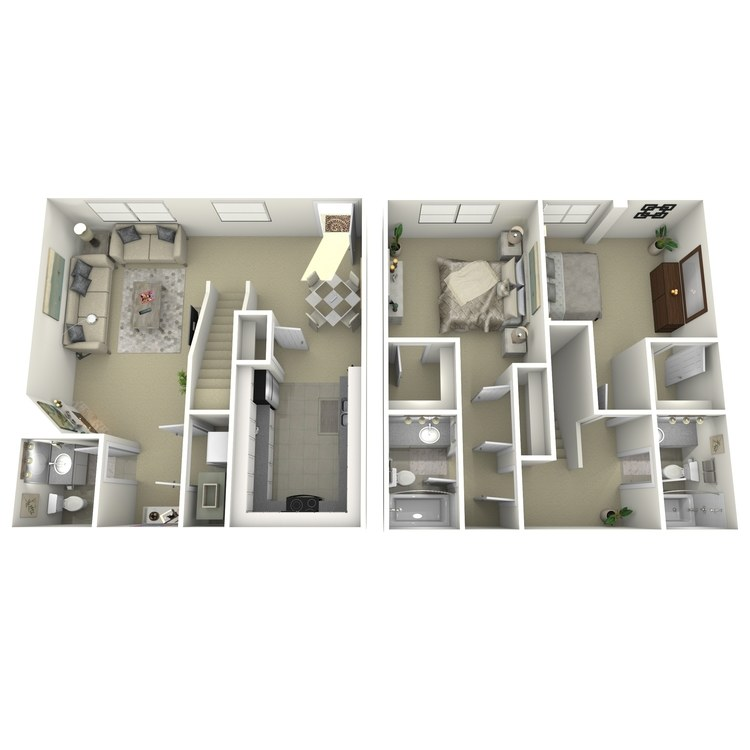Floor plan image of 2 Bed 2.5 Bath A