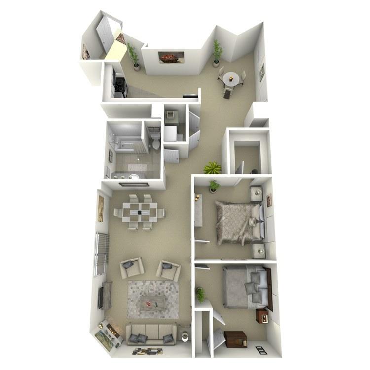 Floor plan image of 2 Bed 2 Bath H