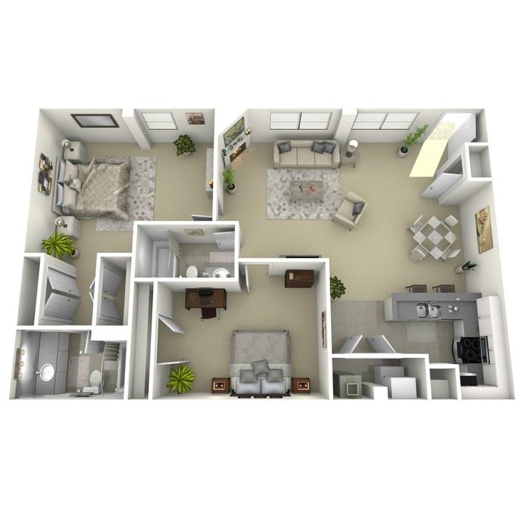 Floor plan image of 2 Bed 2 Bath M