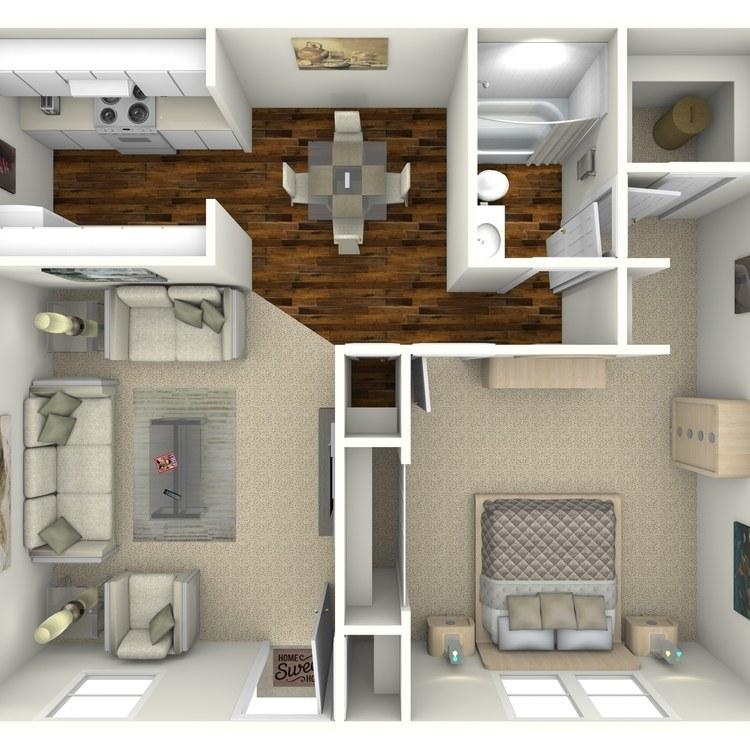 Floor plan image of 1 Bed 1 Bath B