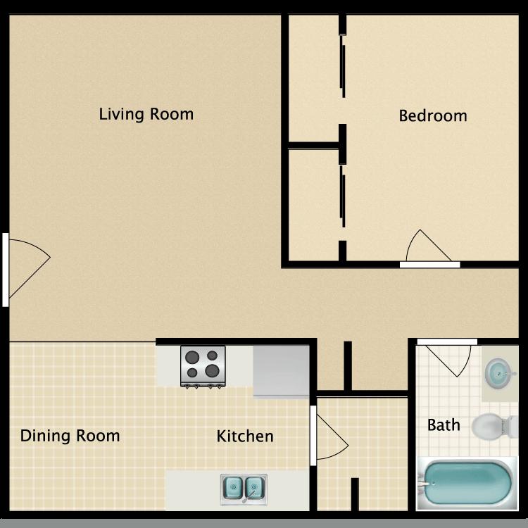 Floor plan image of 1 Bedroom | 1 Bath