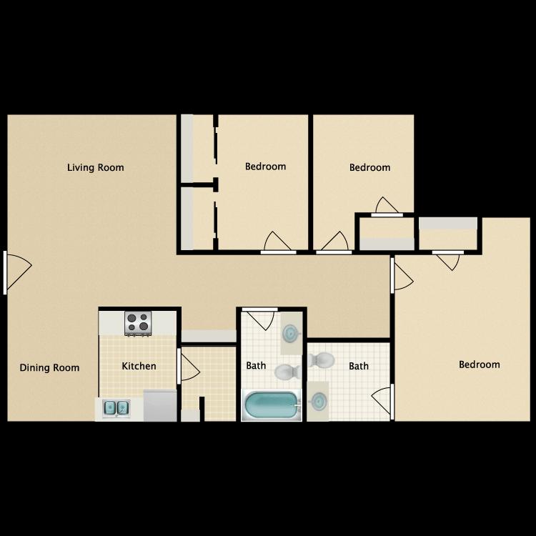 Floor plan image of 3 Bedroom | 1.5 Bath