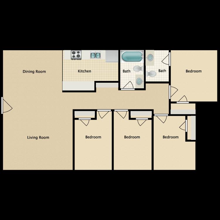 Floor plan image of 4 Bedroom | 1.5 Bath