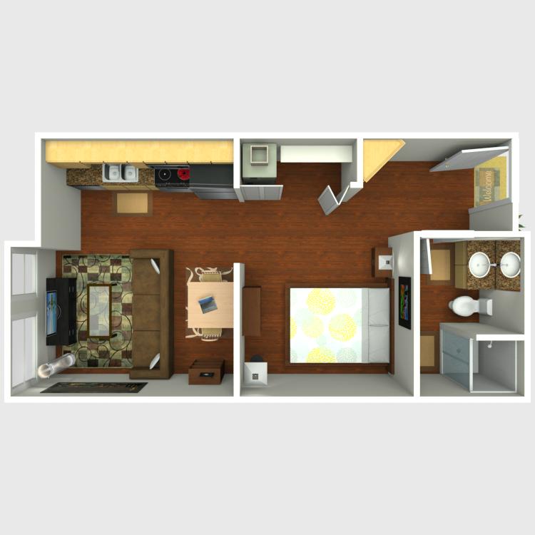 Floor plan image of Open 1x1 B