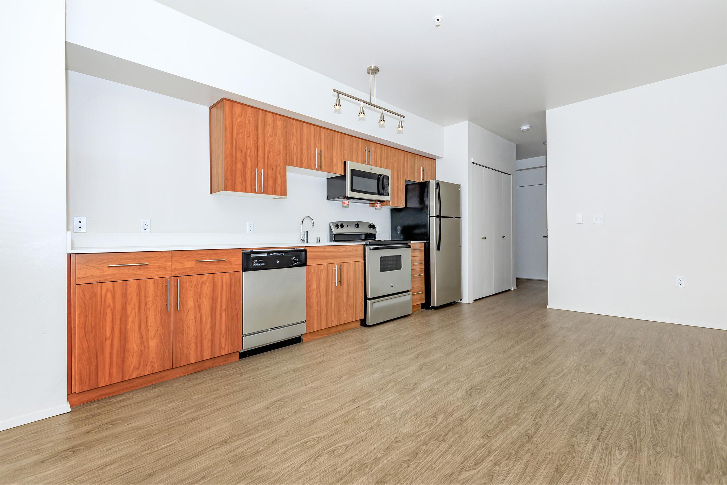 a refrigerator in a kitchen