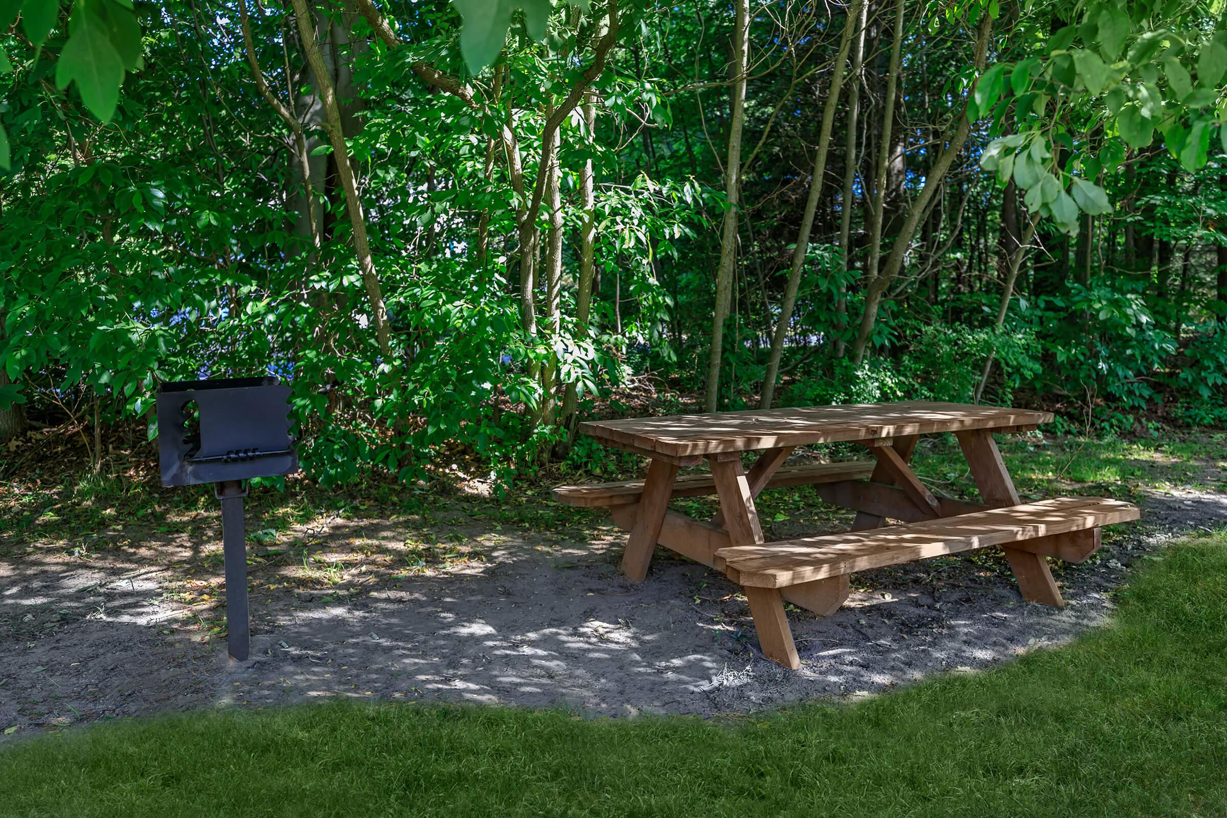 a wooden bench in a park