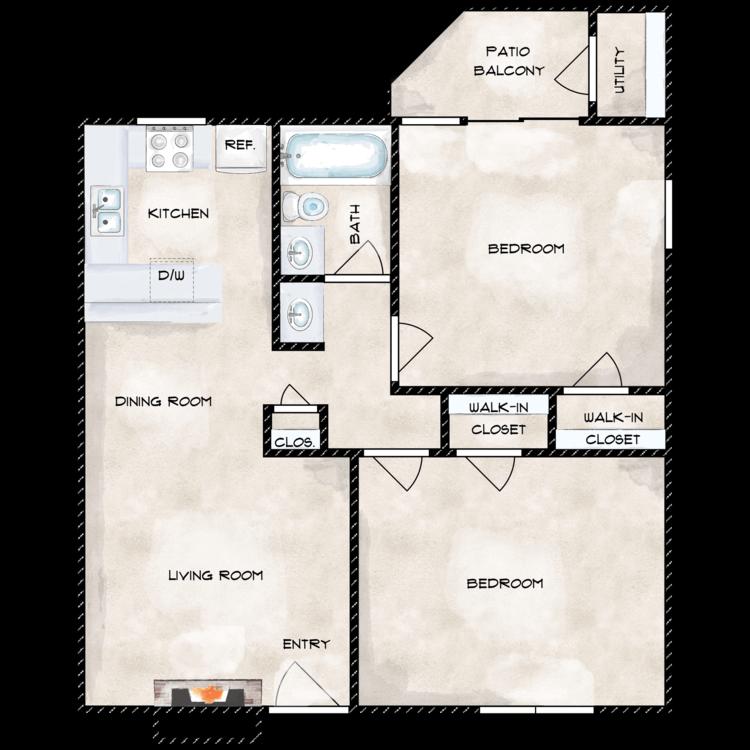 Floor plan image of 2 X 1