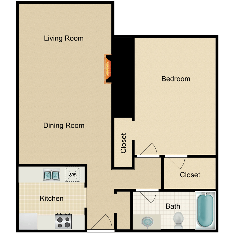 Floor plan image of Large 1 Bed