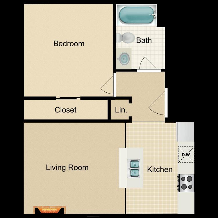 Floor plan image of Regular 1 Bed