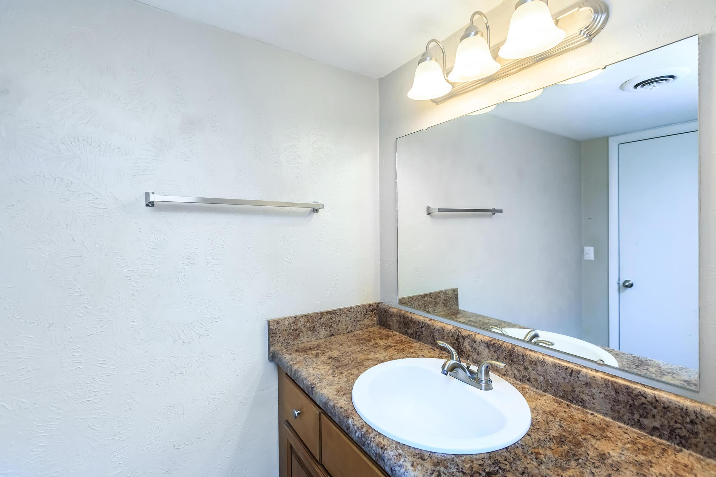 Plenty of Counter Space in the Bathroom at Belle Forest at Memorial