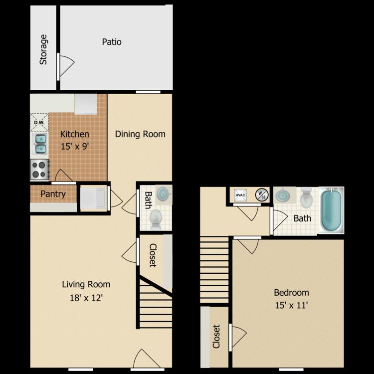 One Bedroom Townhouse floor plan image