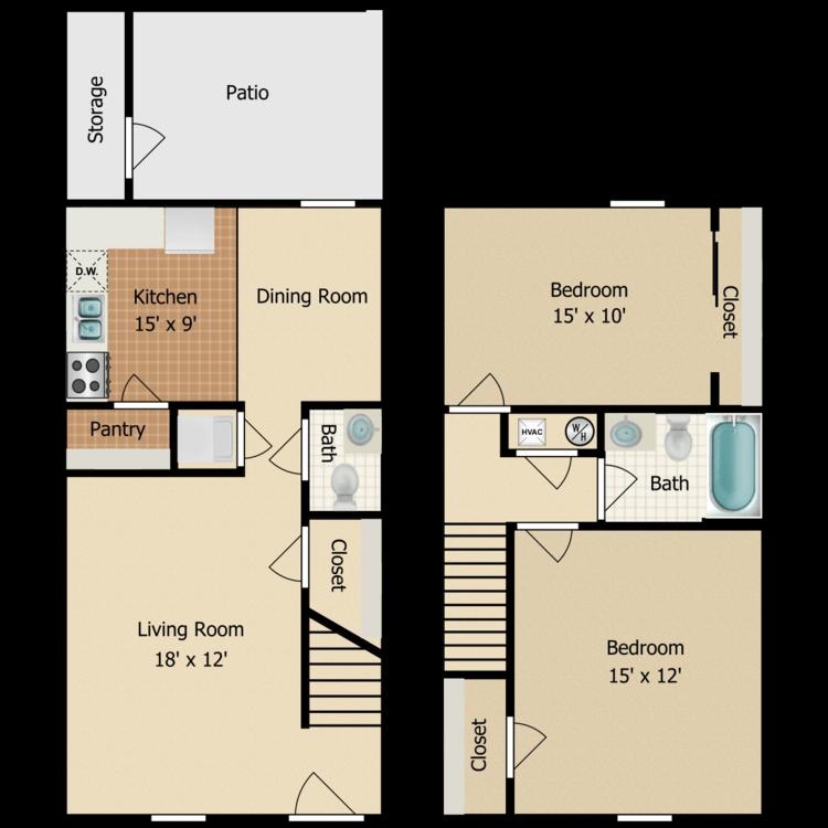 Two Bedroom Townhouse floor plan image
