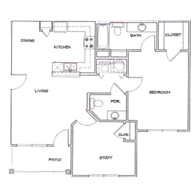 Floor plan image of A2 with Study & Garage