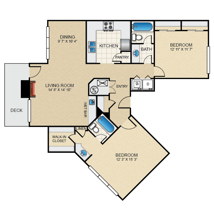 The Pointe - Availability, Floor Plans & Pricing on kitchen labeled in spanish, bathrooms labeled in spanish, bedroom labeled in spanish,