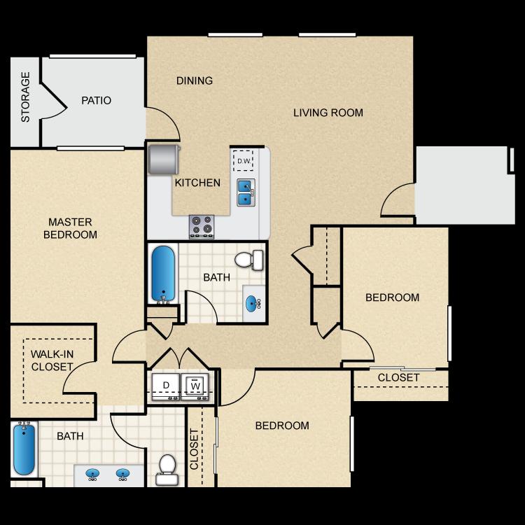 Floor plan image of 3 x 2