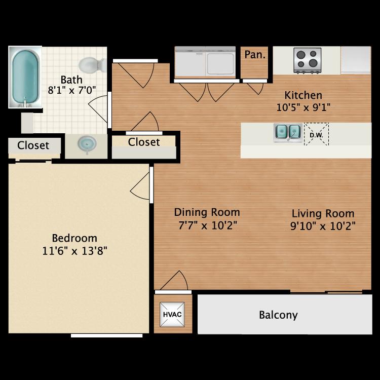 Floor plan image of 1x1 ADA