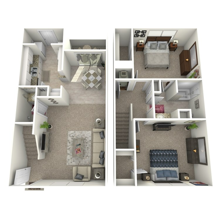 Floor plan image of 2 Bed 1.5 Bath TH