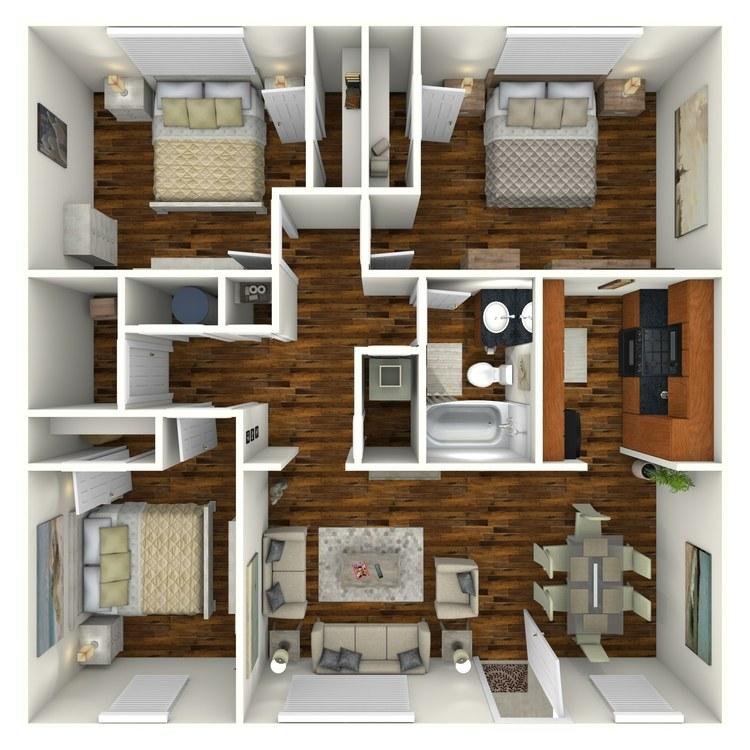Floor plan image of 3 Bedroom 1 Bath
