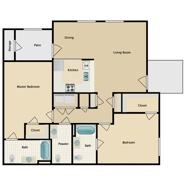 Floor plan image of 2 Bed 2.5 Bath
