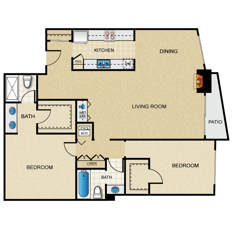 Floor plan image of Plan C 2 Bed 2 Bath
