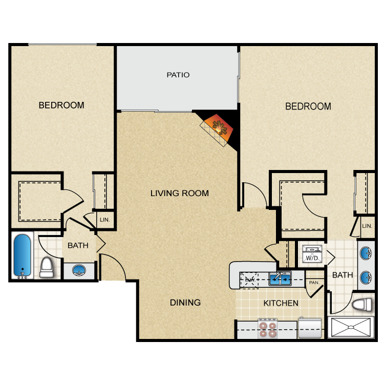 Floor plan image of Plan G 2 Bed 2 Bath