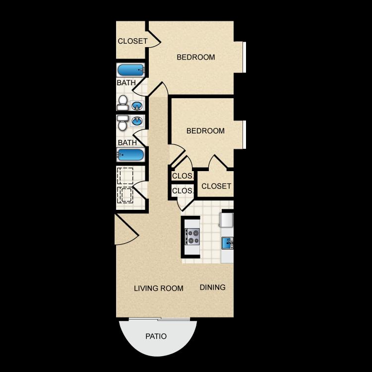 Floor plan image of 2 Bed 2 Bath Corner