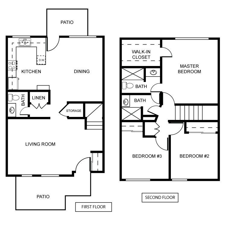 Floor plan image of Townhouse 3 Bed 2 Bath