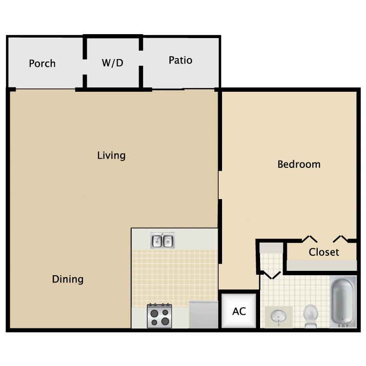 Floor plan image of 1 Bed 1 Bath Large