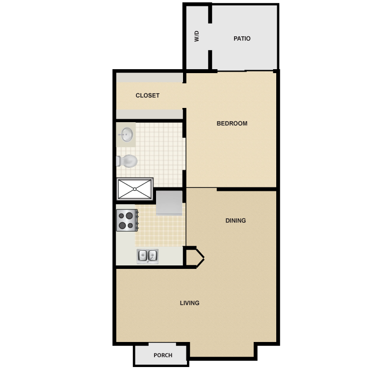 Floor plan image of 1 Bed 1 Bath Small