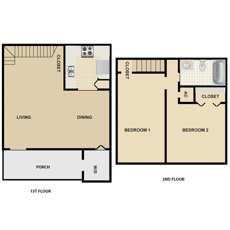 Floor plan image of 2 Bed 1 Bath Townhouse Large