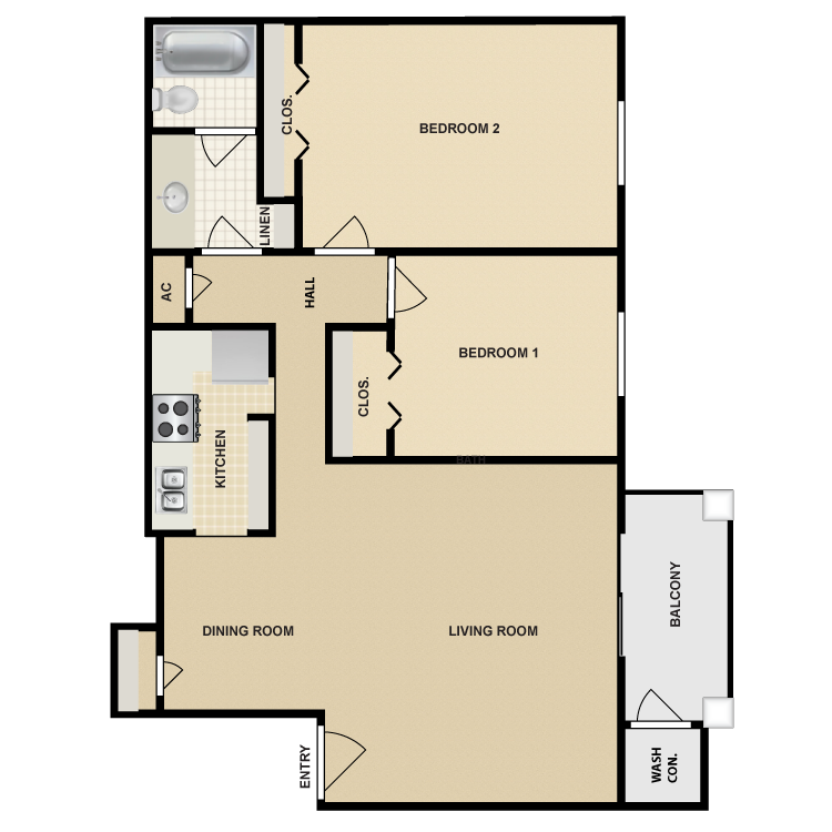 Floor plan image of 2 Bed 1 Bath Large