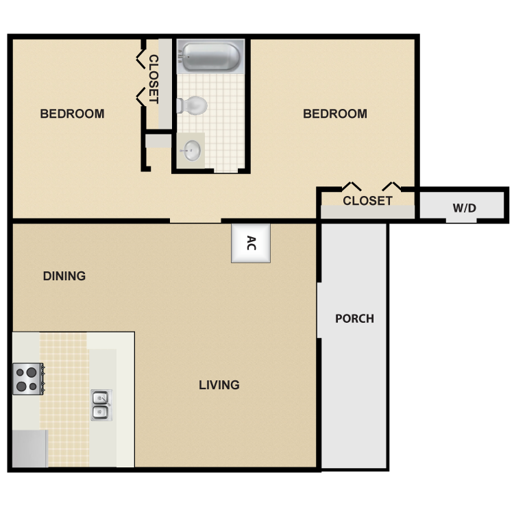 Floor plan image of 2 Bed 1 Bath Small