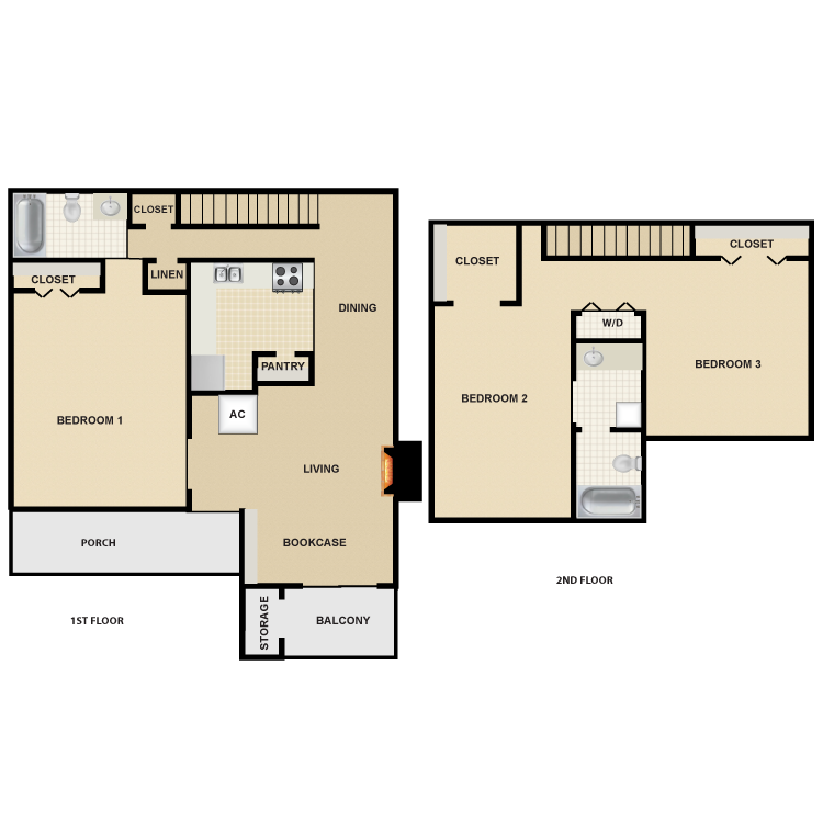 Floor plan image of 3 Bed 2 Bath Townhome
