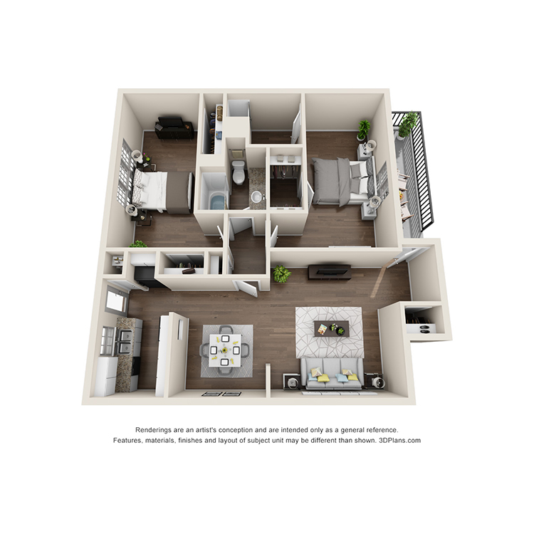 Floor plan image of 2 Bed 2 Bath B