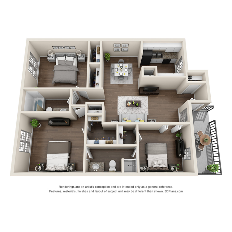 Floor plan image of 3 Bed 2 Bath C