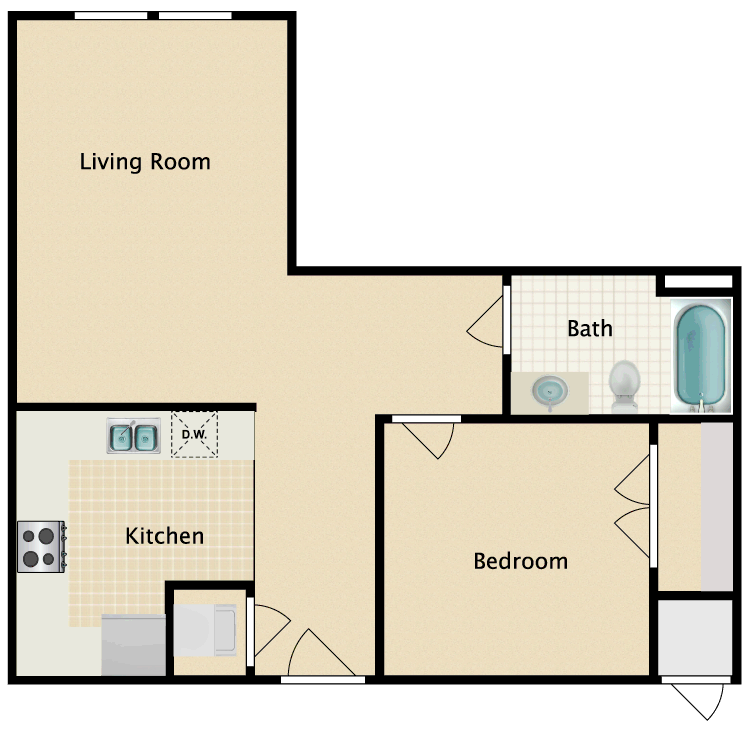 Floor plan image of 1 Bed 1 Bath G
