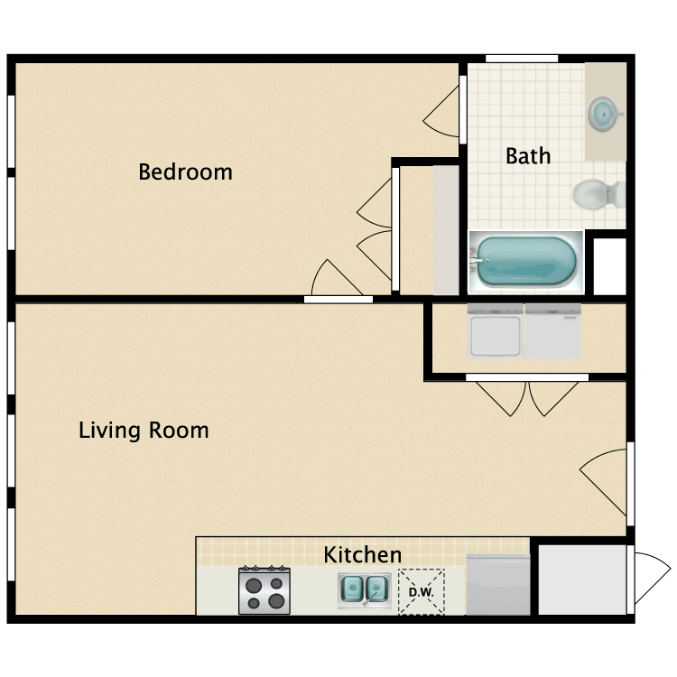 Floor plan image of 1 Bed 1 Bath H