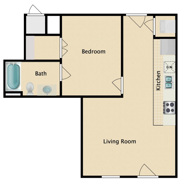 Floor plan image of 1 Bed 1 Bath I