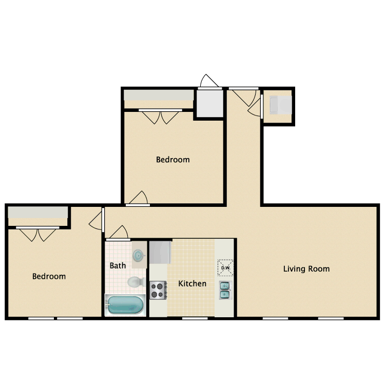 Floor plan image of 2 Bed 1 Bath B