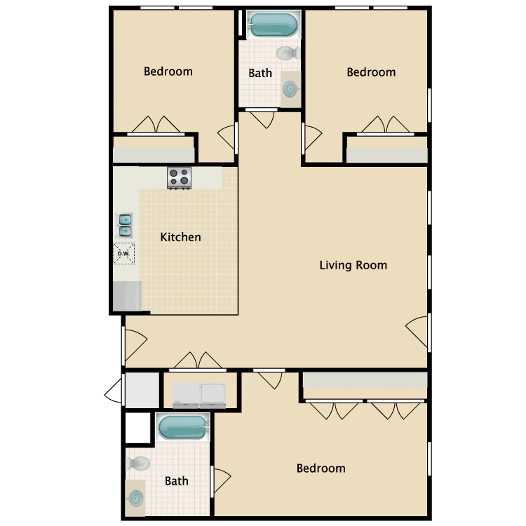 Floor plan image of 3 Bed 2 Bath D
