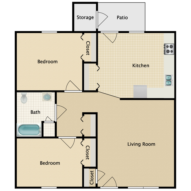 Floor plan image of Two Bed One Bath HC