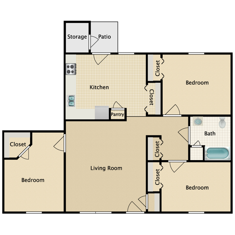 Floor plan image of Three Bed One Bath HC