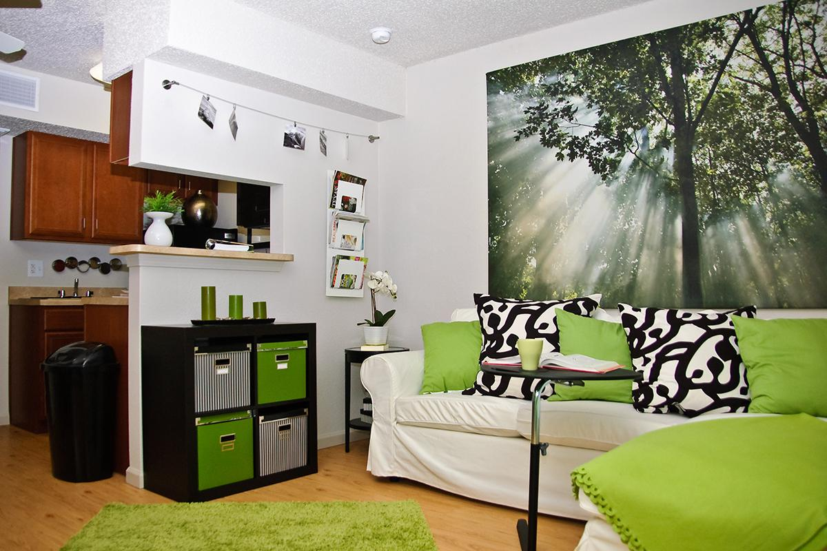 a living room with a green blanket
