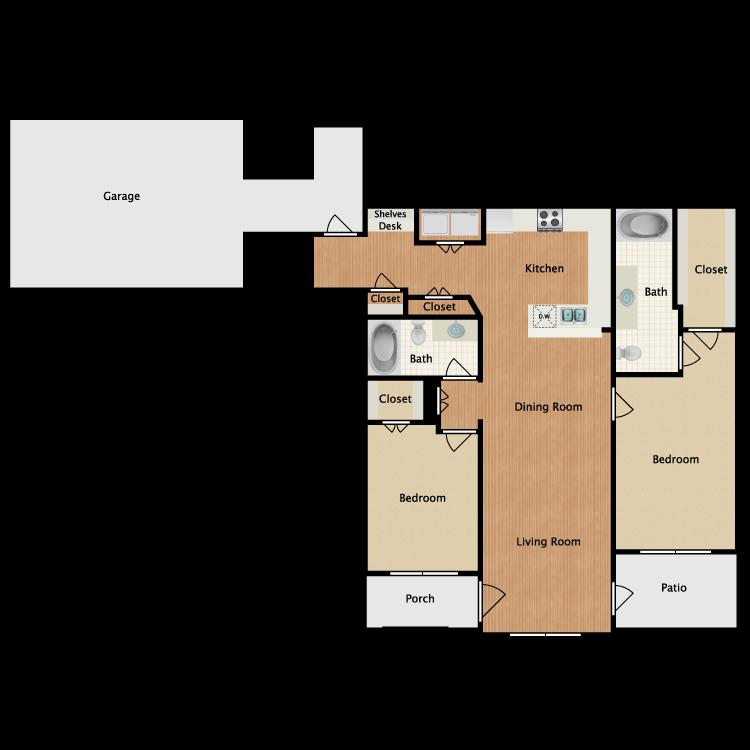 Floor plan image of 2 Bed 2 Bath C