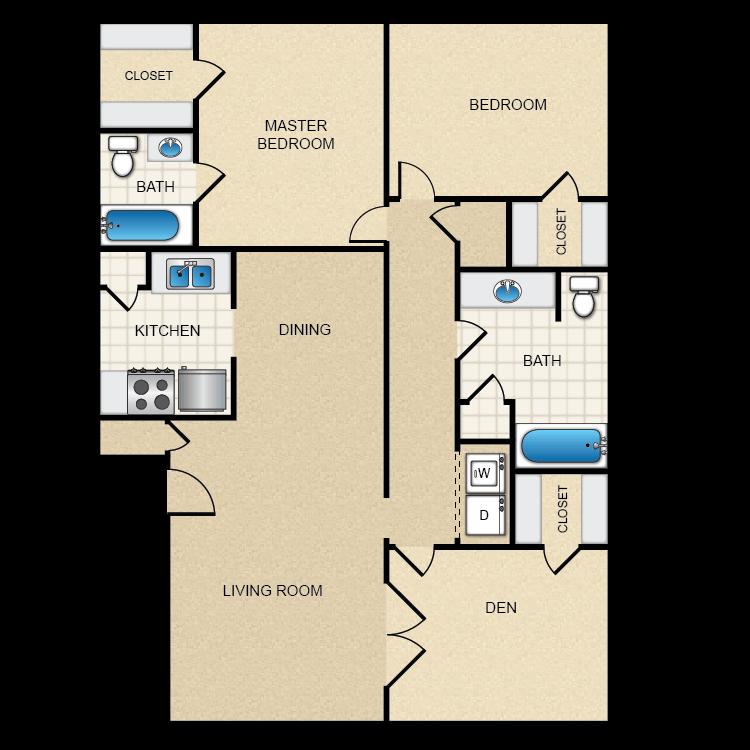 Floor plan image of 2 Bed 2 Bath W/ Den