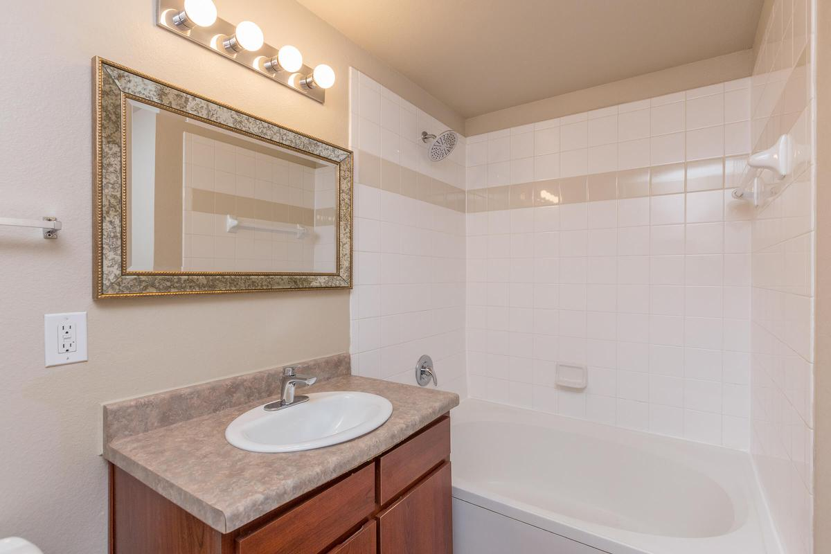 Bathroom with single sink, vanity, and shower/tub combo
