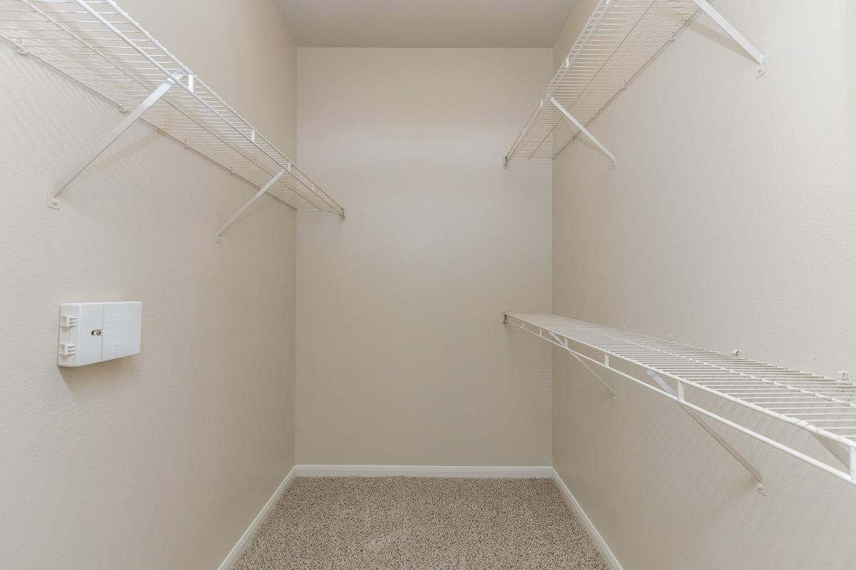 Walk-in closet with shelves and extra storage space at The Avenue