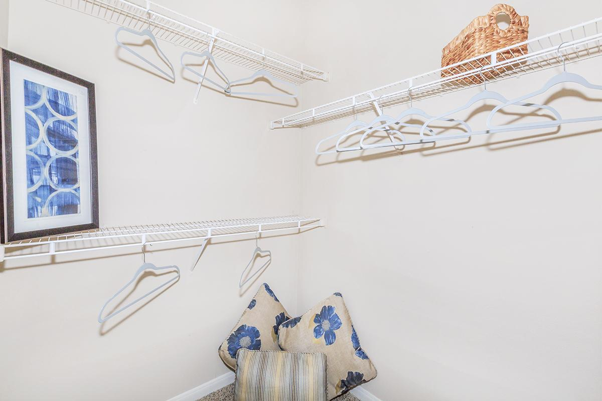 Walk-in closet with shelving, clothes hangers and decorative pillows