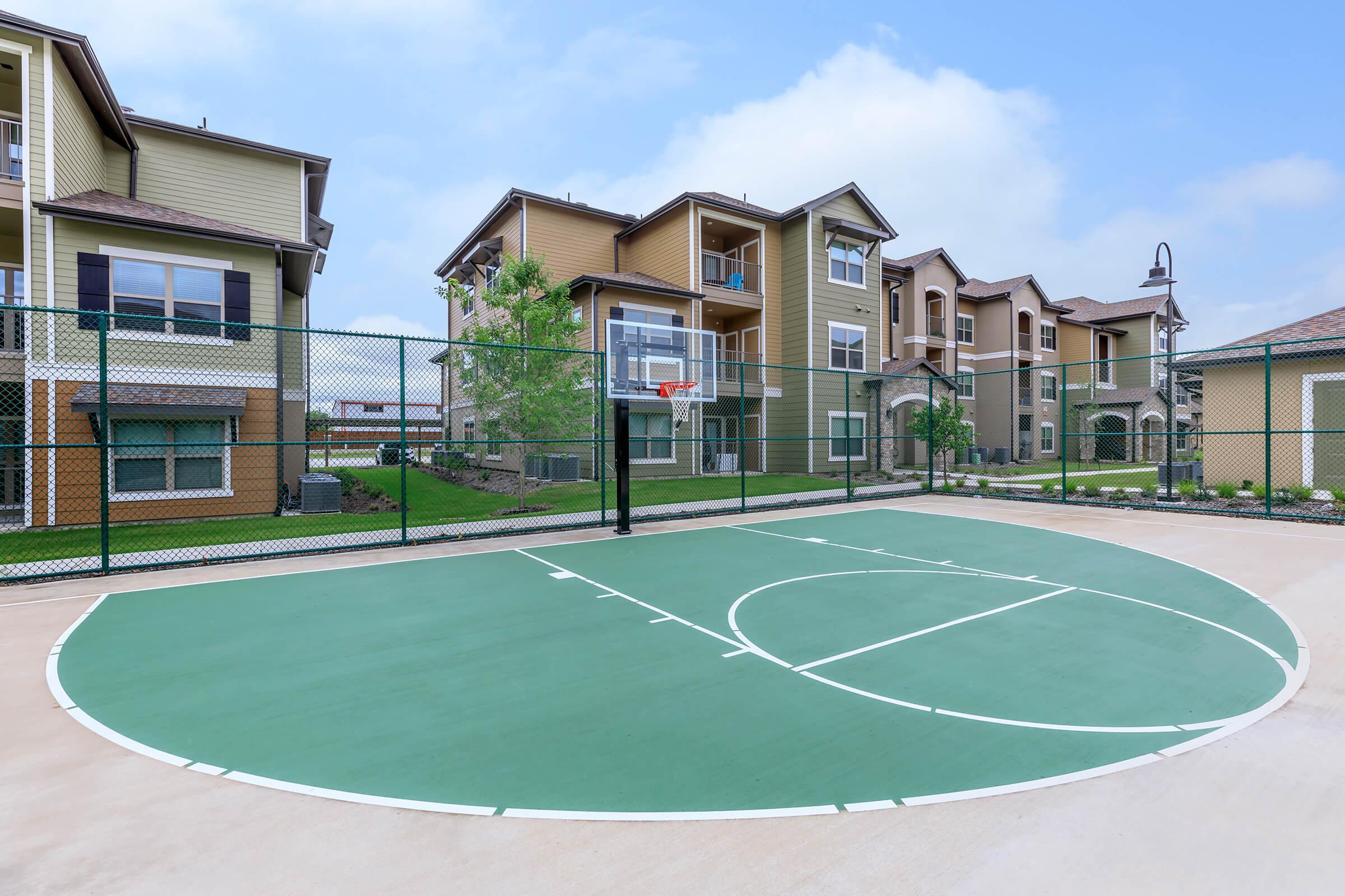 a house on a basketball court